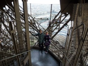 Walking down the 754 stairs from the 2nd floor to the ground floor of the Eiffel Tower