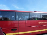 Buses driving by full of passengers wearing costumes.