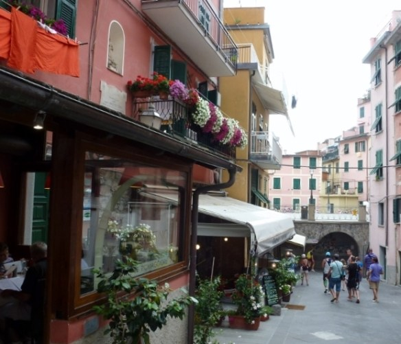 Riomaggiore is full of balconies with flowers.