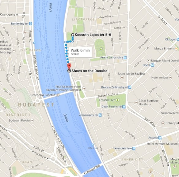 Map to Shoes on the Danube Promenade