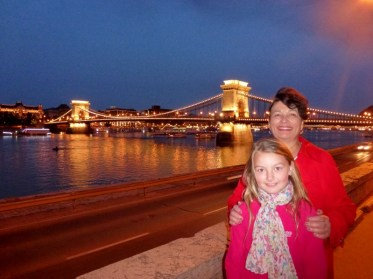 Night Walk Danube River - Budapest Hungary Anya and Grandma Linda and Chain Bridge