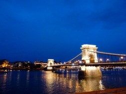 Night Walk Danube River - Budapest Hungary The Chain Bridge with lights