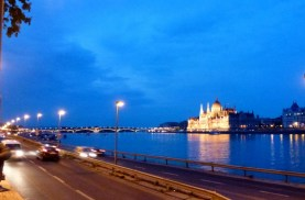 Night Walk Danube River - Budapest Hungary The Margaret Bridge from Buda