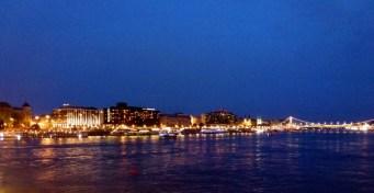 Night Walk Danube River - Budapest Hungary The Pest side of town and the Erzsébet Bridge (Elizabeth Bridge)