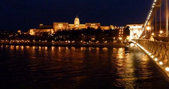 Night Walk Danube River - Budapest Hungary The Royal Palace and Chain Bridge
