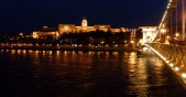 Night Walk Danube River - Budapest Hungary The Royal Palace and Chain Bridge