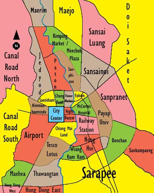 Chiang Mai Neighborhoods Map