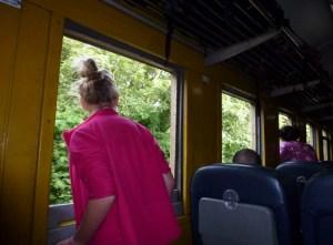 Train Bangkok to Chiang Mai - Anya gazing out the window