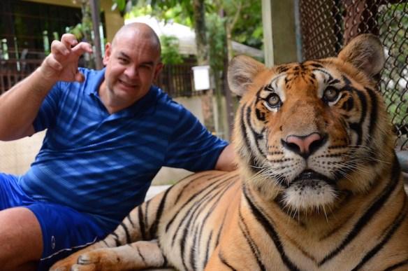 Alan clawing a tiger - ROWR!