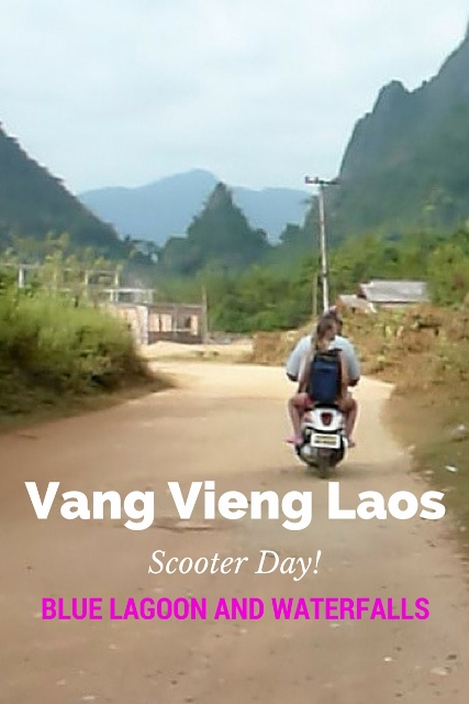 You must check out the Blue Lagoon Vang Vieng Laos! It is perfect to rent a scooter and head out to The Blue Lagoon and surrounding areas. Many people also rent bikes, but scooters are best when it's hot. Read more on WagonersAbroad.com