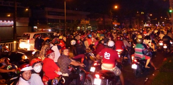 New Years Eve Saigon Scooter Traffic