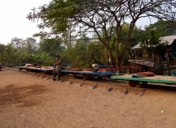 Bamboo Train carts all lined up