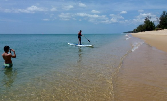 Paddle boarding in Phuket Thailand Feb 2015