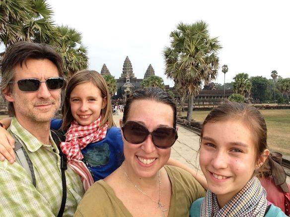 The Fassbender Famiy in front of Angkor Wat - taking on the world