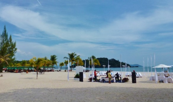 Berjaya Langkawi Resort Beach setting up for a wedding