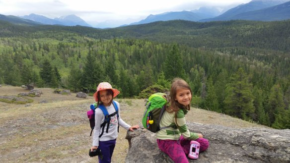 Raevynn and Autumn hiking in Jasper - Through the eyes of the Traveling Child Series - Read more on WagonersAbroad.com