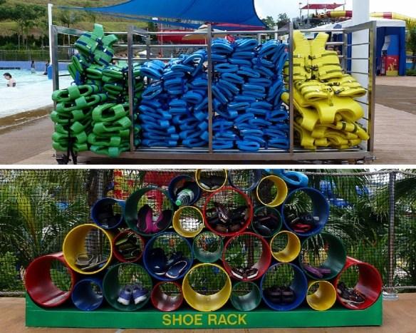 Legoland Water Park Shoe Rack and Life Jackets