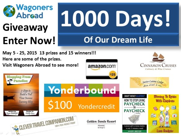 Wagoners Abroad 1000 Days of Dream Life Giveaway with 13 prizes  May 5-25-2015