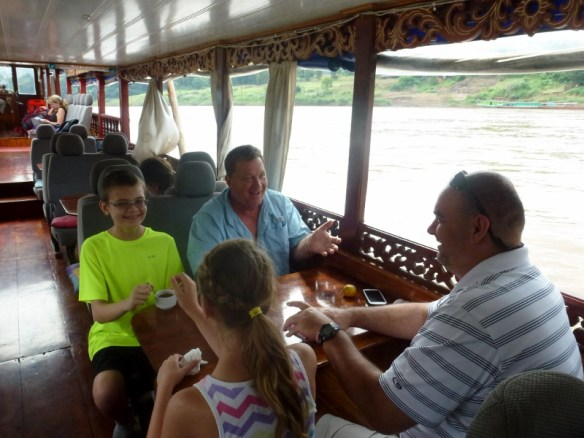 Nagi of Mekong 2 day slow boat from Thailand to Laos - Making new friends and playing games