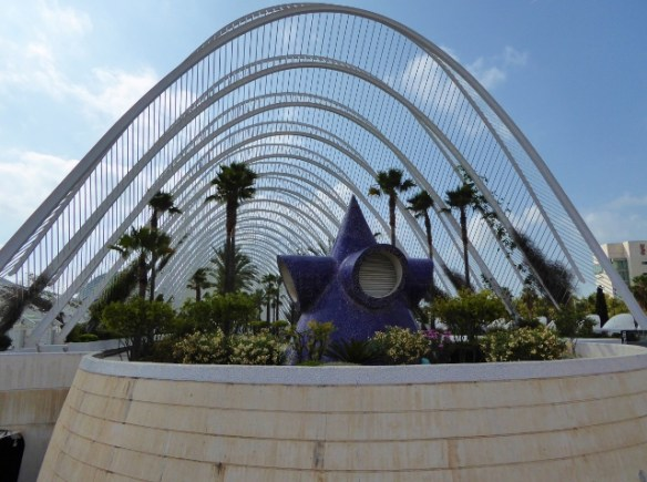On the upper deck of the Umbracle City of Arts and Sciences Valencia Spain outside