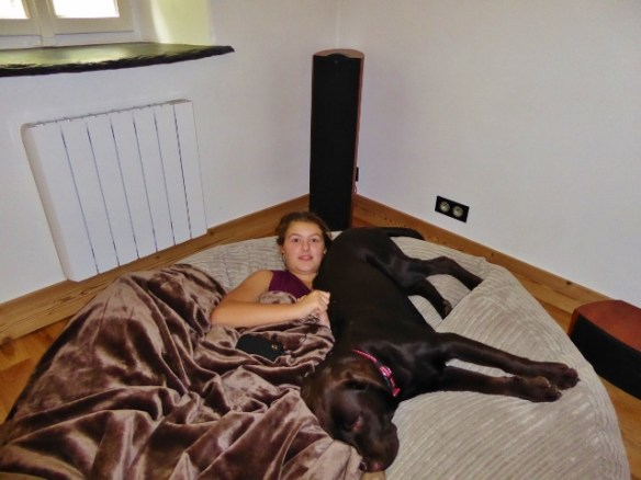 Anya and Rolo relaxing in the beanbag