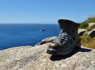 Finisterre Spain the bronzed boot in honor of the pilgrimage and the end of this portion of the camino