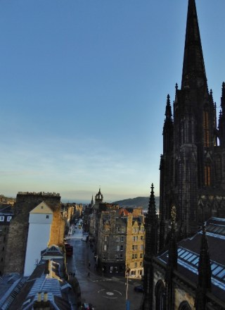 View of the Royal Mile from Camera Obscura Rooftop Edinburgh