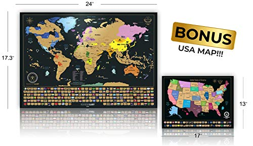 The Best Scratch Off Map Of The World or USA -A Great Gift!