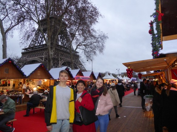 Paris Christmas Markets at the Eiffel Tower Christmas market. Champs de Mars was a beautiful market, with the Eiffel Tower as the backdrop.  We visited this one a couple of times!