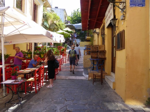 Plaka stairs Athens cute cafes