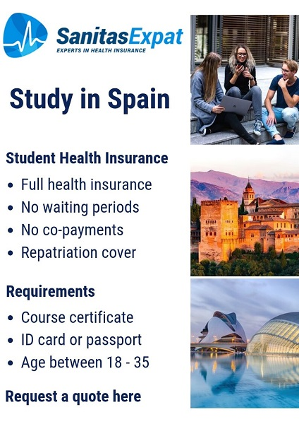 study in Spain student health insurance, including repatriation. This is one of your best private health insurance options in Spain