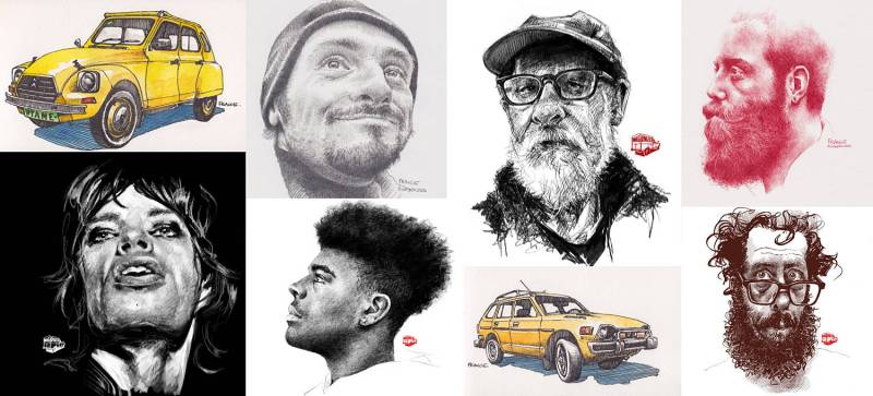 A gallery of drawings by France Van Stone