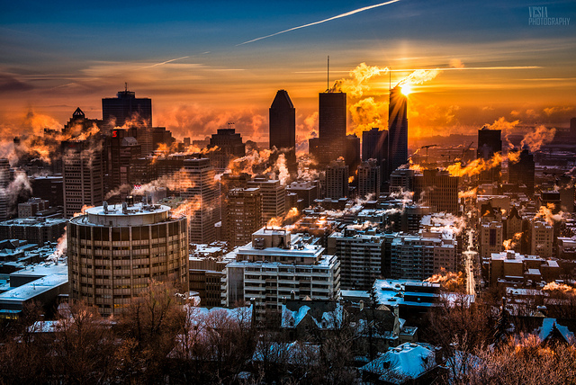Winter sunrise over downtown Montreal (Credit: Flickr - Michael Vesia)
