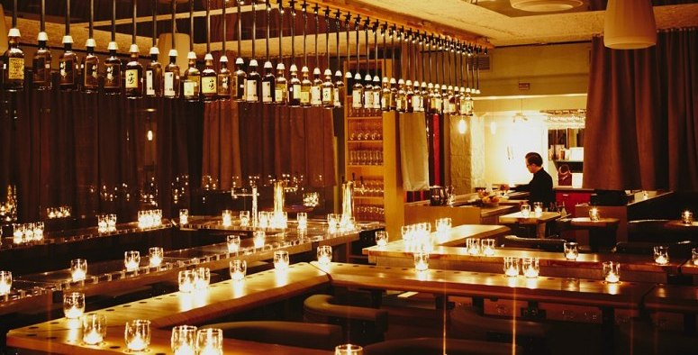 The candlelit interior of Big in Japan Bar