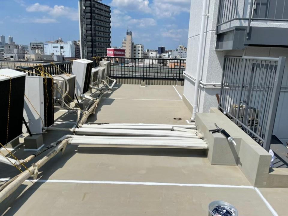 下地処理:屋上防水塗装工事