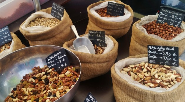 selection of healthy nuts on a market in Oostende, Belgium