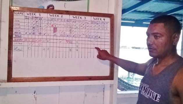 my instructor explaining the dive board for DMT's