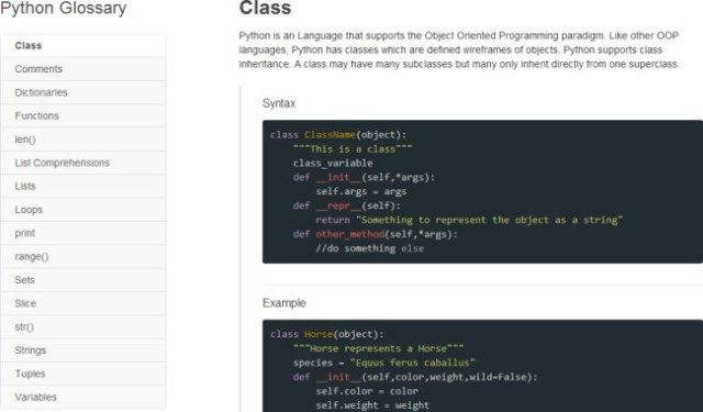 The Python glossary in Codecademy