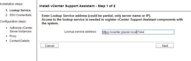 Entering the vCenter lookup service address