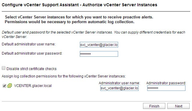 Using my vCenter service account to authorize the appliance