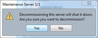 The final warning when using the decommission action