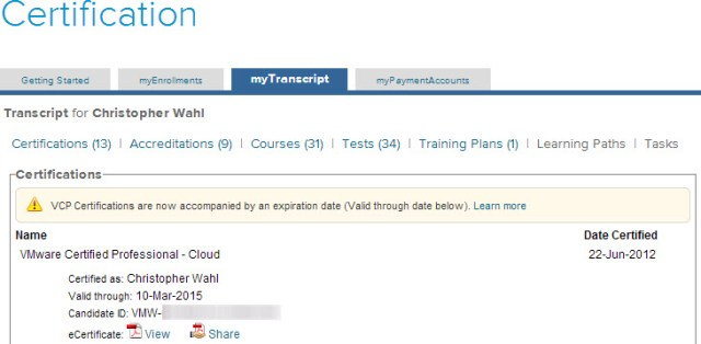 An expiration date is now listed for any VCP level exam