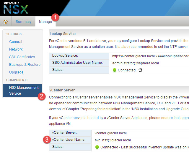 Configuring a service account for NSX