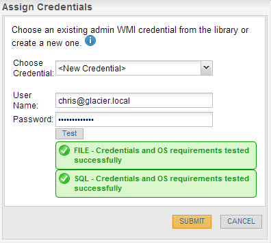 Plug in credentials that can install the agent