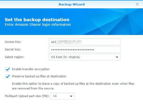 How To Point Synology Backups to Amazon Glacier using IAM