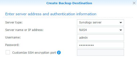 Network Backup Destination Details