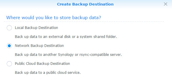 New Network Backup Destination