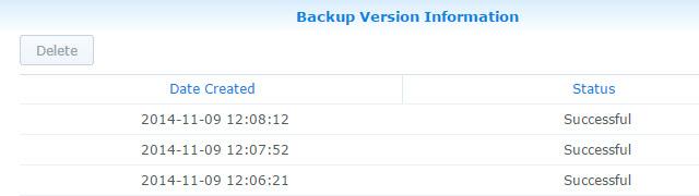 List of Backups