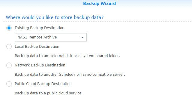 Backup Task Destination