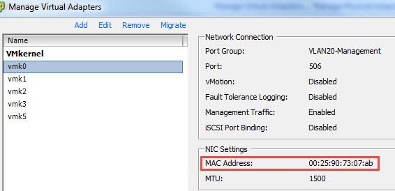 MAC address for vmk0